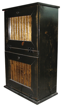 Shown in Extra Distressed Old Black with Walnut door panels and a poly overcoat