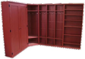 CUSTOM - Corner Locker Setup with Shelves & Doors | Custom Wood Locker | Sawdust City Custom Furniture