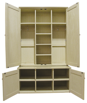 CUSTOM - Large Locker Unit on Bench | Custom Pine Bench | Sawdust City Custom Furniture