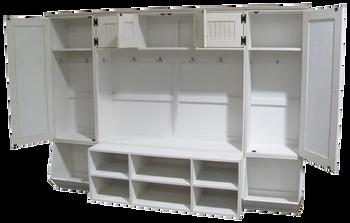CUSTOM - Lockers with Bench and Bins | Custom Pine Storage Lockers | Sawdust City Custom Furniture