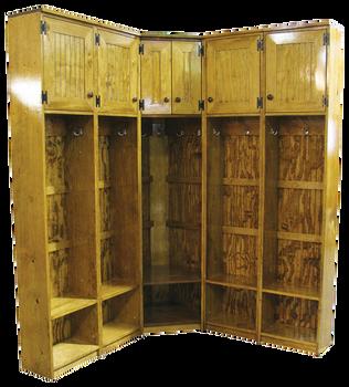 CUSTOM - 5-Locker Corner Storage | Custom Pine Lockers | Sawdust City Custom Furniture