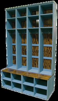 CUSTOM - 4 Tall Lockers on Benches | Custom Tall Wooden Bench Lockers | Sawdust City Custom Furniture