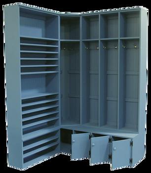 CUSTOM - Corner Locker & Shelving Unit | Custom Pine Stroage Unit | Sawdust City Custom Furniture