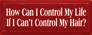 How Can I Control My Life If I Can't Control My Hair?   Funny Wood Sign  Sawdust City Wood Signs