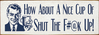 Shown in Old Cottage White with Blue lettering