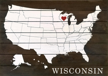 Personalized Pallet-Style Sign showing US Map with Heart & State Name | Wood Wisconsin Sign | Sawdust City Sign in Walnut Stain with Cottage White & Red