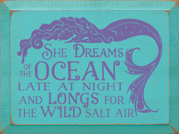 Shown in Old Aqua with Purple Lettering