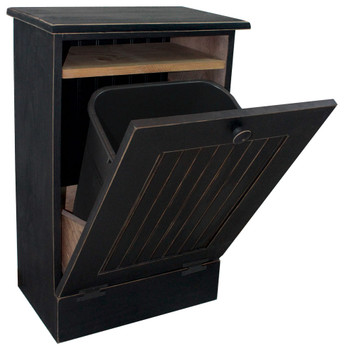 Wood Tilt-Out Trash Bin with Shelf (small) - Old Black