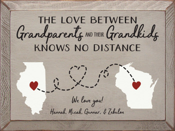 Personalized Sign for Grandparents in Old Putty with Black, White, and Red lettering