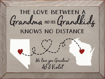 Personalized Grandma Sign in Old Putty with Black, White, and Red lettering