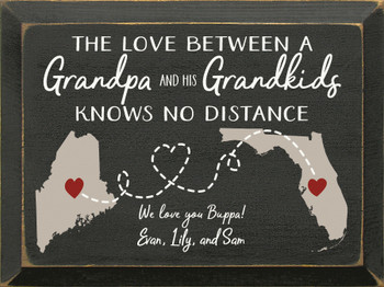 Personalized Grandpa & Grandkids Sign in Old Black with Putty, White, and Red lettering