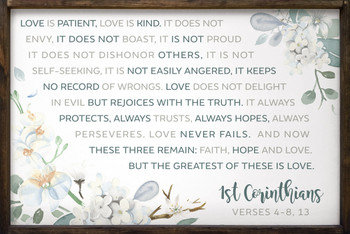 "1st Corinthians Wedding Sign - Large 24""x36"" Framed Sign"