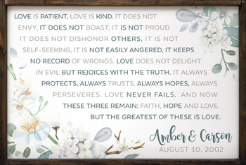 "Personalized Wedding Sign - 1st Corinthians - Large 24""x36"" Framed Sign"