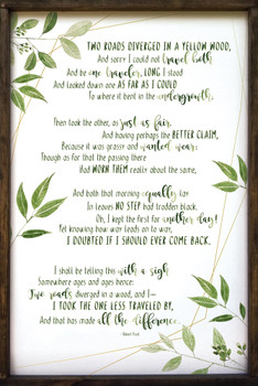 Large Framed Wall Sign - Two Roads Diverged - Framed Robert Frost Poem Sign