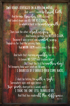 "Robert Frost Poem - Large Colorful 24"" x 36"" Framed Sign"