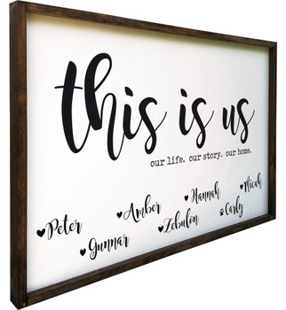 "This Is Us (Personalized) Family Sign - 24"" x 36"" Framed"