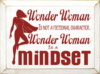 Wonder Woman wooden sign shown in Cottage White with Red