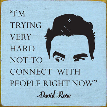 I'm trying very hard not to connect with people right now. - David Rose | Funny Wood Signs | Sawdust City Wood Signs
