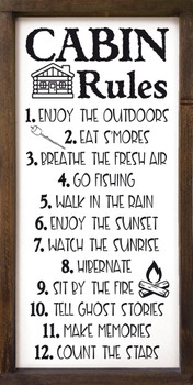Cabin Rules Sign | Wood Cabin Signs | Sawdust City Wood Signs