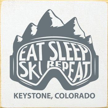 Eat Sleep Ski Repeat | Wood Ski Signs | Sawdust City Wood Signs