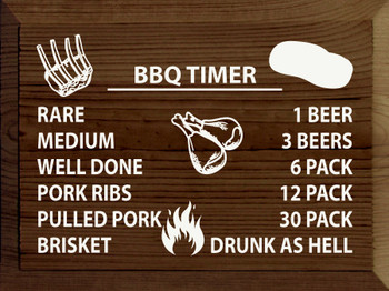 BBQ TIMER: Rare/1 beer, medium/3 beers, well done/6 pack..