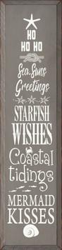 Ho ho ho sea-suns greetings, starfish wishes, coastal tidings, mermaid kisses | Coastal Christmas Wood Signs | Sawdust City Wood Signs