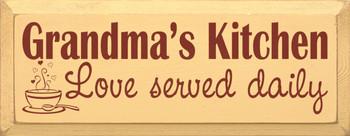 Grandma's Kitchen - Love served daily  |Grandma Wood Sign| Sawdust City Wood Signs