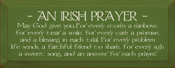 May God give you. . .For every storm a rainbow...  Irish Prayer Wood Sign  Sawdust City Wood Signs