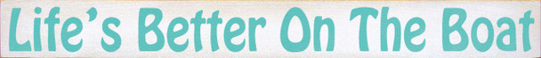 Shown in Old Cottage White with Aqua lettering