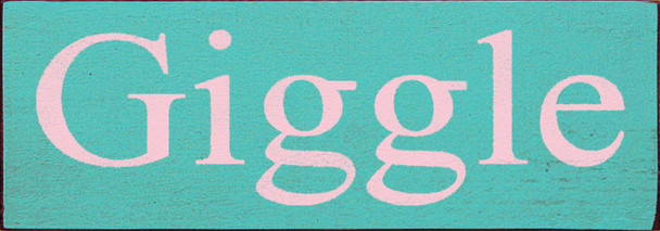 Shown in Old Aqua with Baby Pink lettering