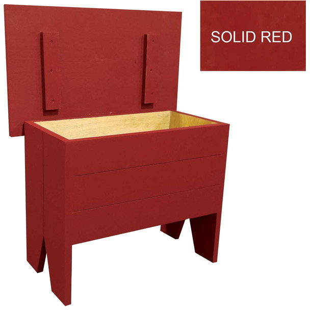Small bench for home decor | Small 2' Storage Bench | In Solid Red