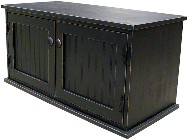 Solid Knotty Pine Storage Bench | Wooden Shoe Bench | In Old Black