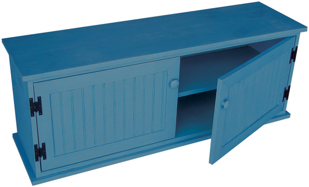 Knotty Pine Storage Unit with Shelf | Shoe Storage Bench | In Solid Williamsburg Blue
