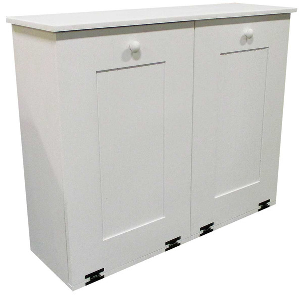 Wood Tilt-Out Trash/Recycle Combo Shown in Solid Cottage White