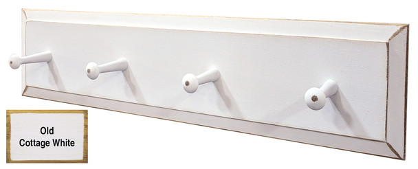 Small Wood Peg Rack  - Shown in Old Cottage White