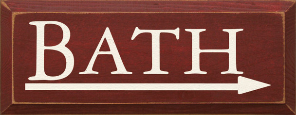 Bath (With Arrow To The Right)  | Bathroom Wood Sign| Sawdust City Wood Signs