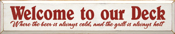 Shown in Old Cottage White with Red lettering