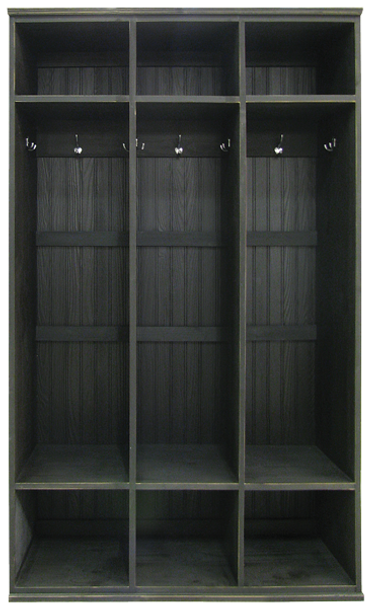 3-Section Wood Locker Unit | Wood Mudroom Storage | Sawdust City Storage in Old Black