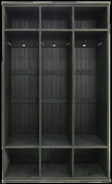 3-Section Wood Locker Unit | Wood Mudroom Storage | Sawdust City Storage in Old Black