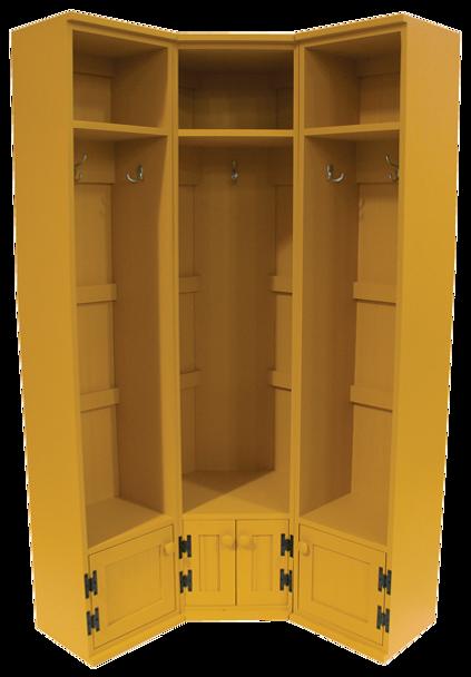 CUSTOM - Corner 3-Locker Setup | Custom Pine Locker | Sawdust City Custom Furniture