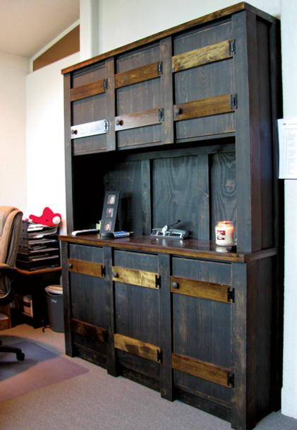 Shown in Extra Distressed Black with Walnut stained accents