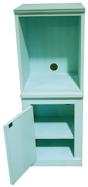 Shown in Old Baby Aqua.  What looks like 6 little drawers on the front is actually a single door to access plenty of storage.