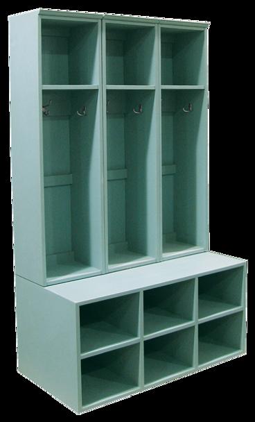 CUSTOM - 3-Locker & Cubby Bench Combo | Custom Pine Cubby Locker | Sawdust City Custom Furniture