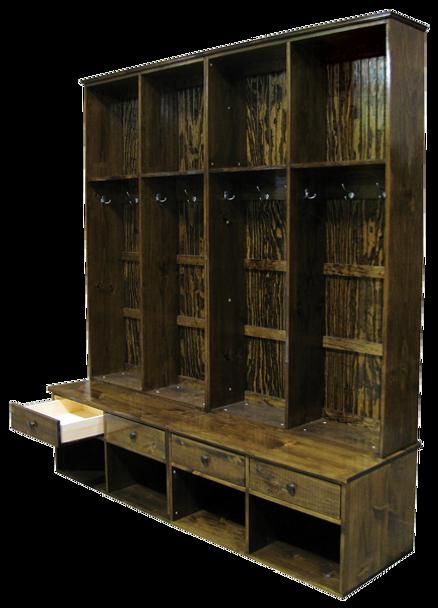 CUSTOM - Lockers With Bench Drawers | Custom Wood Bench | Sawdust City Custom Furniture