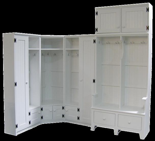 CUSTOM - Large Corner Mudroom Setup | Custom Large Pine Mudroom Furniture | Sawdust City Custom Furniture