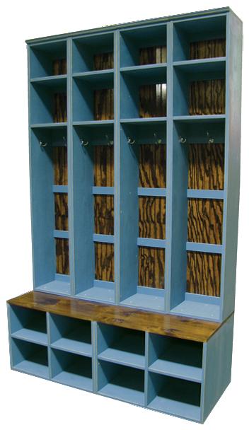 CUSTOM - 4 Tall Lockers on Benches   Custom Tall Wooden Bench Lockers   Sawdust City Custom Furniture
