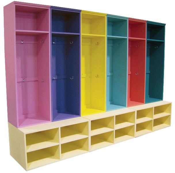 CUSTOM - Colorful Lockers on Benches | Custom Colorful Pine Bench Lockers  | Sawdust City Custom Furniture