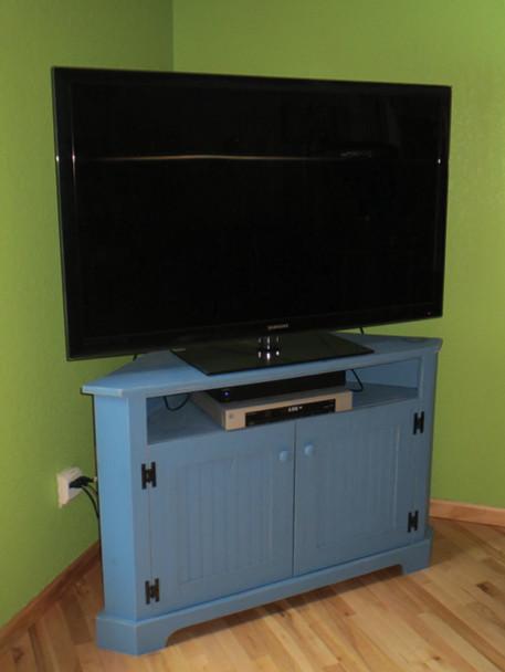 CUSTOM - Large Shallow Corner TV Stand   Custom Pine Livingroom Furniture   Sawdust City Custom Furniture