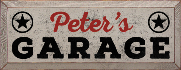 Shown in Old Putty with Red and Black lettering