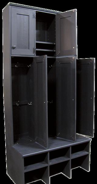 CUSTOM - Tall 3-Locker Unit on Bench | Custom Tall Pine Corner Lockers | Sawdust City Custom Furniture